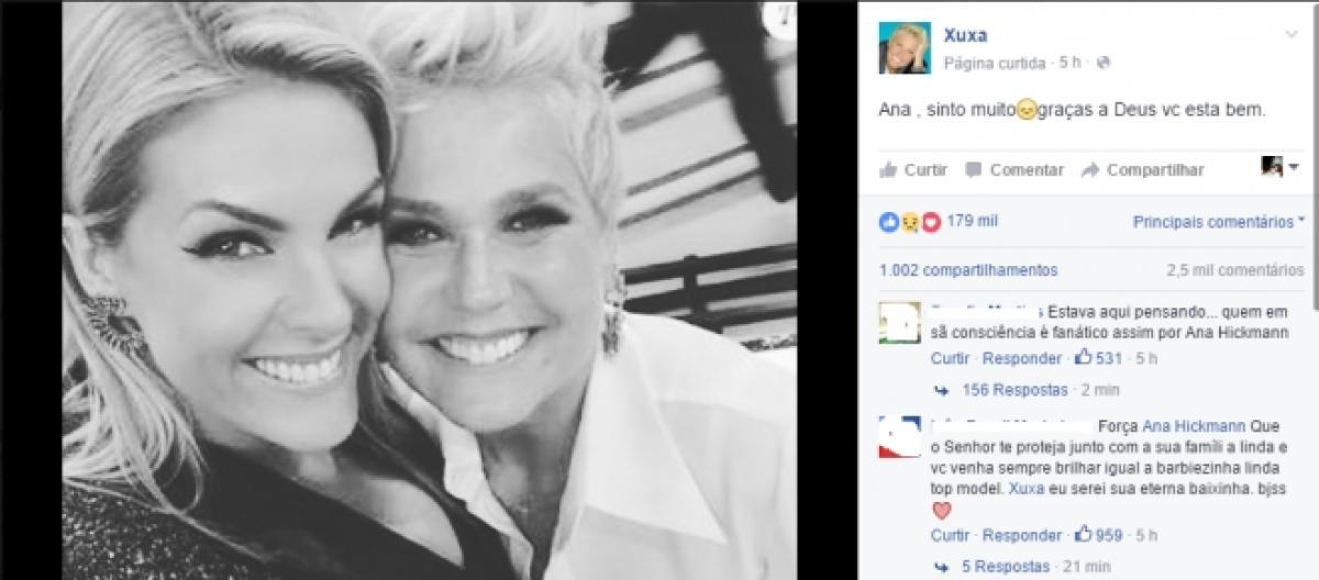 Xuxa posta mensagem para Ana Hickmann após tentativa de homicídio 47cbd7e40a