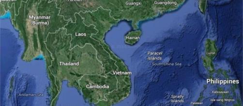 Mapa de la ubicación del Mar del Sur de China