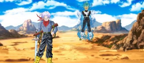 Trunks del Futuro junto a su padre.