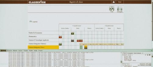 Una schermata del registro elettronico Spaggiari