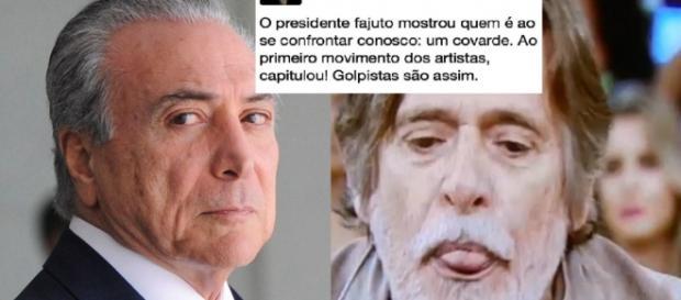 Michel Temer e José de Abreu - Foto/Montagem