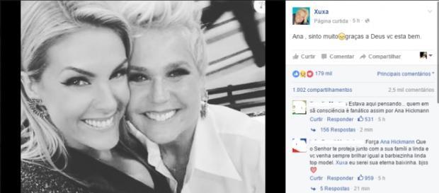 Xuxa posta mensagem para Ana Hickmann (Reprodução/Facebook)