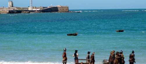 "Rodaje de la película ""El capitán Alastriste"" en la playa La Caleta, Cádiz"