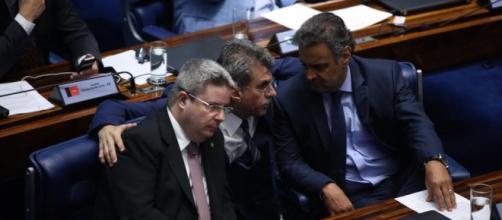 Romero Jucá com os senadores Anastasia e Aécio