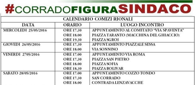 Calendario comizi rionali di Corrado Figura.
