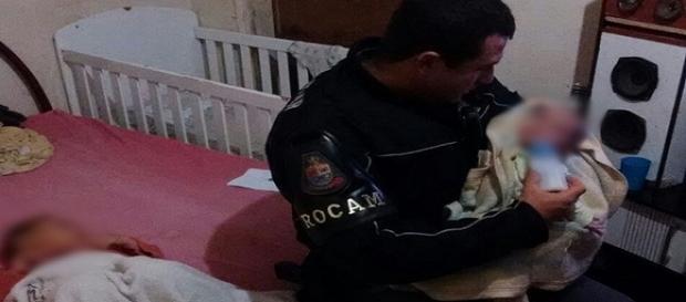 Policial foi logo amamentar o bebê faminto