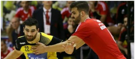 Nuno Grilo e Javier Borrágan disputando o jogo