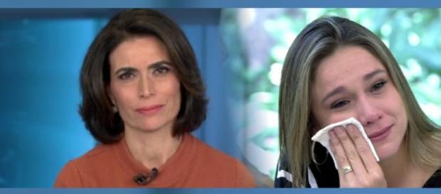 Giuliana Morrone e Fernanda Gentil se emocionam ao despedir de colega