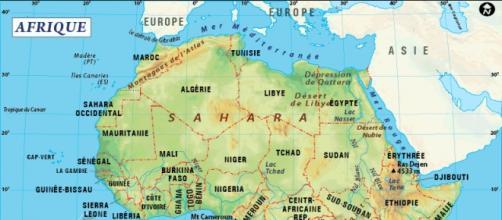 Carte topographique du continent africain