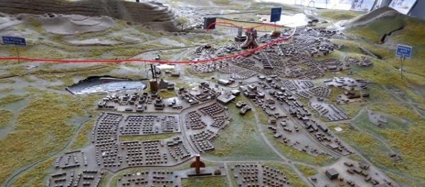 Fotografía de maqueta de ciudad de Kiruna ''una vez trasladada''.