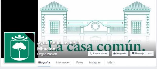 Pefil en Facebook del Ayuntamiento de la localidad luciendo una banda negra en señal de duelo