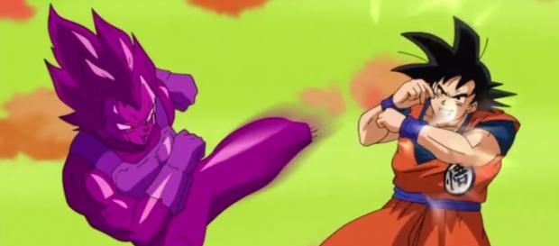 Una dura pelea entre Goku y la copia de Vegeta