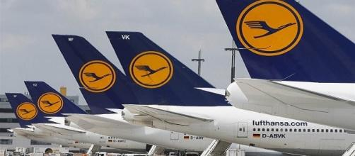 Flota de aviones de la compañía aérea Lufthansa.