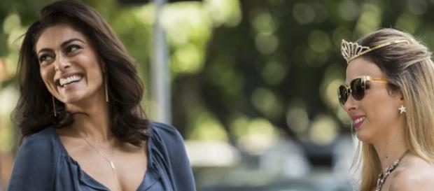 Juliana Paes gravou com Tatá Werneck, que interpreta Fedora (Divulgação/Globo)
