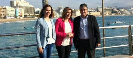 Visita de la líder socialista andaluza a Las Palmas.