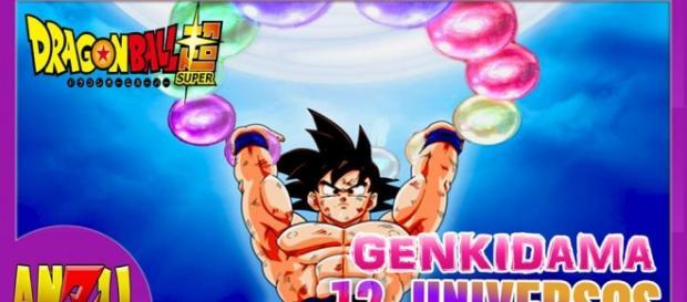 Goku realizando una Genkidama con el poder de los 12 universos.