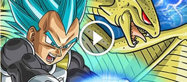 Vegeta lanza Final Flash en modo Dios Azul junto al Super ShenLong