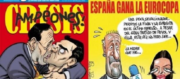 'El Jueves' parodiando el beso de Iker Casillas y tapar con el fútbol la crisis.