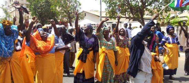 Protesters outside the High Court in Banjul / UDP Photo, Suntou Touray
