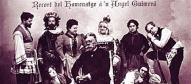 Àngel Guimerà rodeado de actores de una de sus obras.