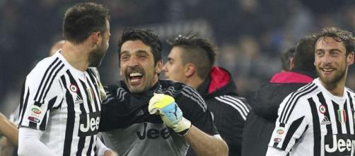 Esultanza di Buffon e Barzagli.
