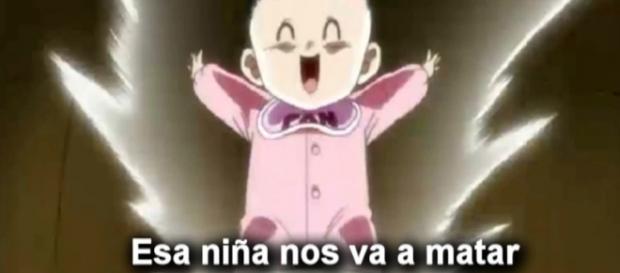 Pan la nieta de Goku expulsando su poder.