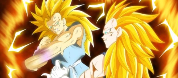 Goku luchando vs Vegeta en super saiyajin fase 3