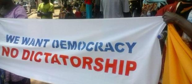 Opposition protesters demanding President Jammeh to step down / UDP Photo, Suntou Touray