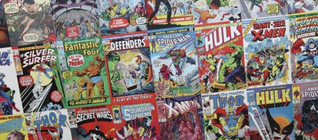 An assortment of Marvel and DC Comics [image via flickr.com/outofideas]