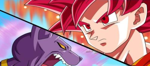 Gokú se enfrenta contra Bills transformado en Súper Saiyajin Dios
