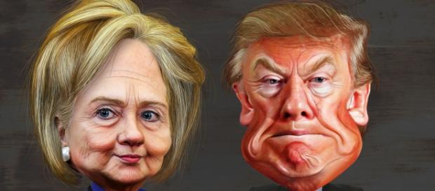 Caricatures of Hillary Clinton and Donald Trump. DonkeyHotey/Flickr.