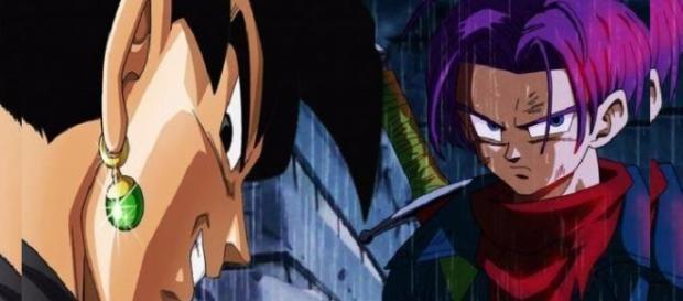 Trunks del futuro y Goku oscuro.