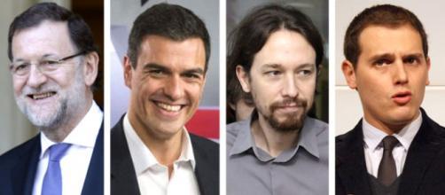De izquierda a derecha: Mariano Rajoy (PP), Pedro Sánchez (PSOE), Pablo Iglesias (Unidos Podemos) y Albert Rivera (Ciudadanos)