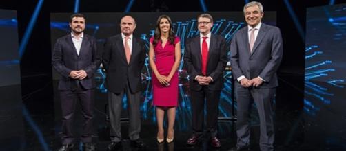 De izquierda a derecha: Alberto Garzón (Unidos Podemos), Luis de Guindos (PP), Jordi Sevilla (PSOE) y Luis Garicano (Ciudadanos)