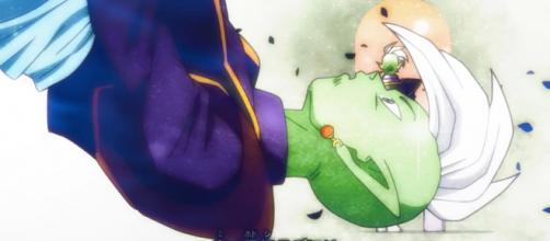 Supuesto Kaiosama siendo asesinado por Gokú Black.