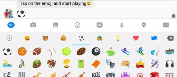 Screenshot of Facebook Messenger's emoticon to start playing Football game