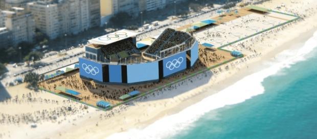 Ilustração da Arena do Vôlei de Praia, que ficará bem próxima à faixa de arrebentação das ondas