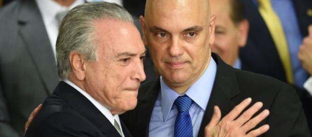 O presidente interino Temer com o ministro da Justiça, Alexandre de Moraes