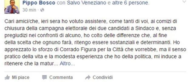 Pippo Bosco, candidato alle ultime comunali, rompe il silenzio elettorale del sabato.