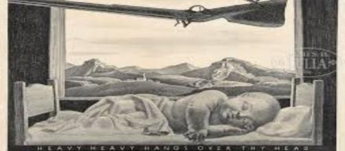 """Rockwell Kent's lithograph 1946 'Heavy Heavy Hangs Over Thy Head"""" Creative Commons"""