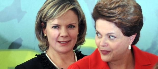 Gleisi Hoffmann e Dilma Rousseff