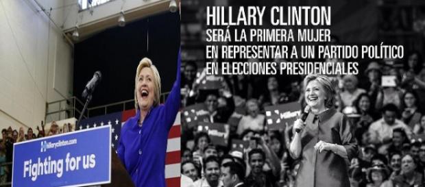 Hillary Clinton celebrando un asamblea con sus seguidores.