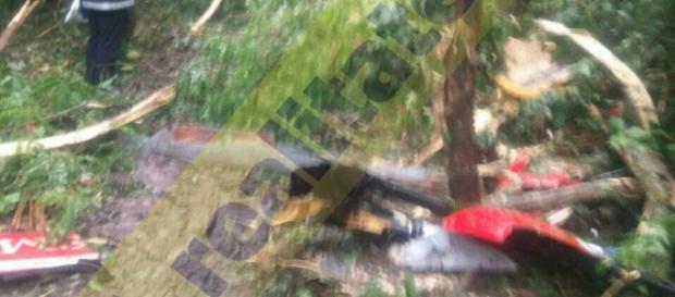 Imagini de la locul prăbuşirii elicopterului SMURD