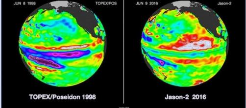La NASA publicó esta comparativa, La Niña actual se debilitó sustancialmente en las últimas 3 semanas