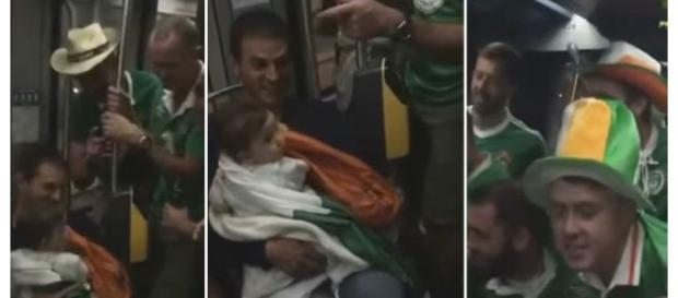 Adeptos irlandeses cantam canções de embalar a bebé francês no metro.