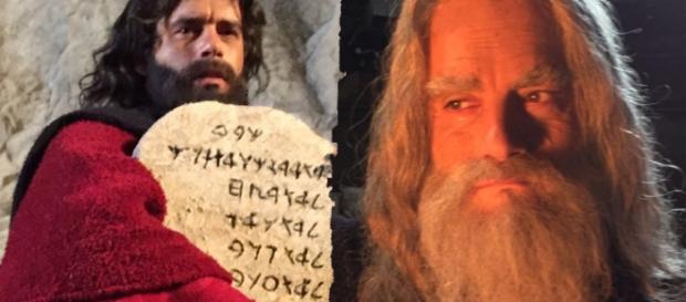 Moisés antes e depois: Morte aos 120 anos anos, pouco antes de chegar à Terra Prometida (Foto: Divulgação/TV Record)