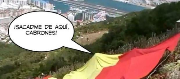 Parodia en Internet de la gigantesca bandera dejada en Gibraltar por los dos militantes de VOX.