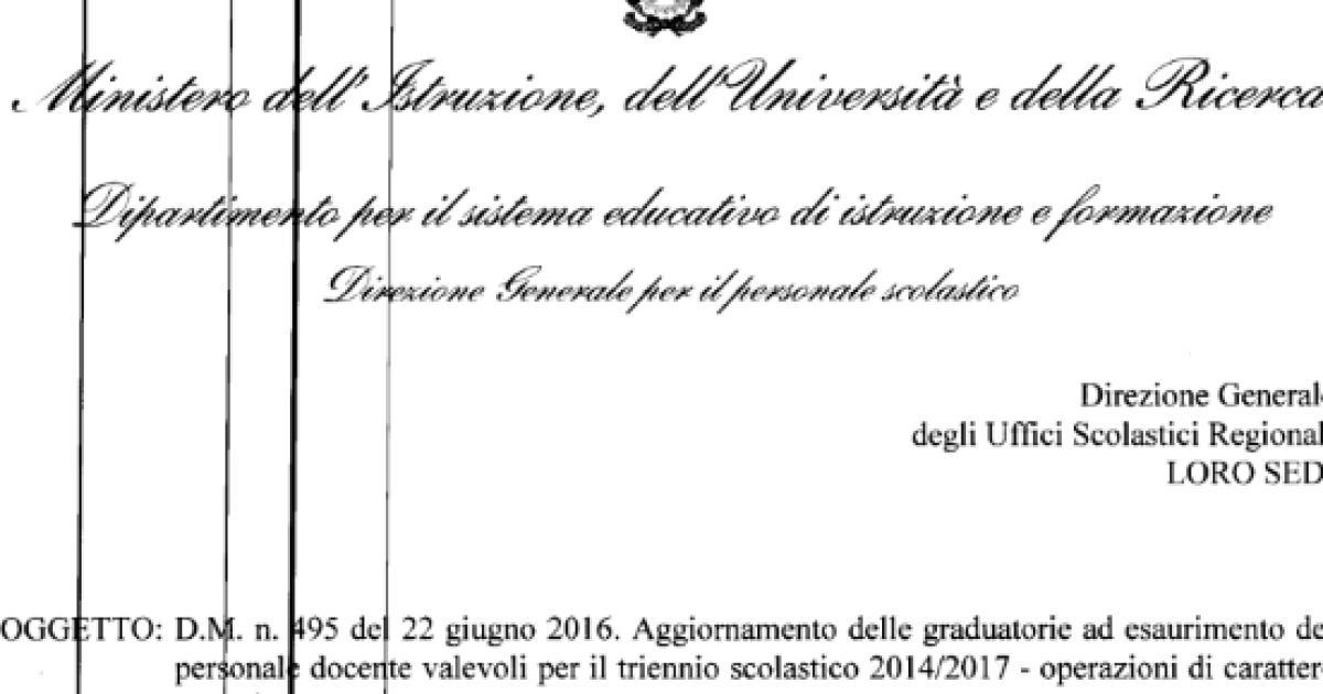 D.M. n. 374 del 1 giugno 2017 – Aggiornamento della II e ...