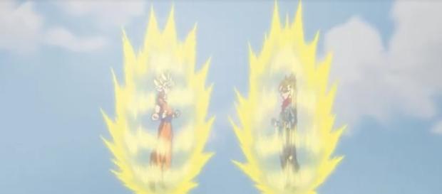 Goku y Trunks del futuro mostrando sus fuerzas