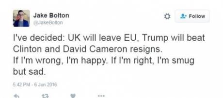 Jake Bolton / image of his tweet. Screencap from Twitter